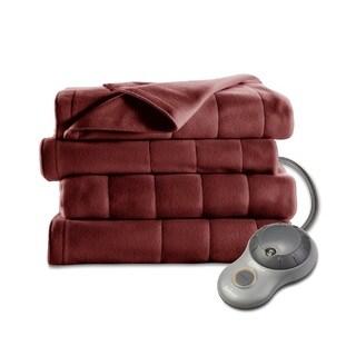 Sunbeam Quilted Fleece Heated King Blanket, Garnet