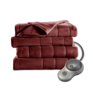 Sunbeam Electric Blanket Royal Dreams Quilted Fleece Queen Garnet