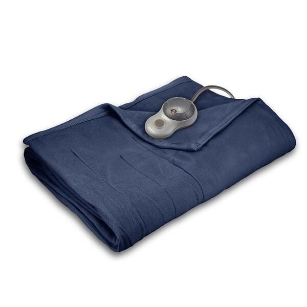 Sunbeam Quilted Fleece Heated Queen Blanket, Newport Blue. Opens flyout.