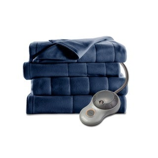 Sunbeam Quilted Fleece Heated Twin Blanket, Newport Blue
