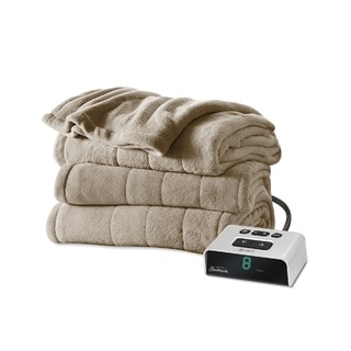Sunbeam Channeled Microplush Heated Full Blanket, Mushroom