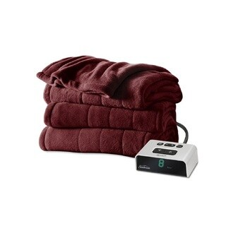 Sunbeam Channeled Microplush Heated King Blanket, Garnet