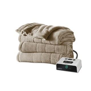 Sunbeam Channeled Microplush Heated King Blanket, Mushroom