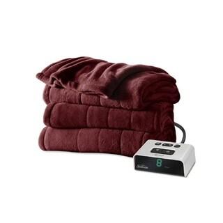 Sunbeam Channeled Microplush Heated Twin Blanket, Garnet