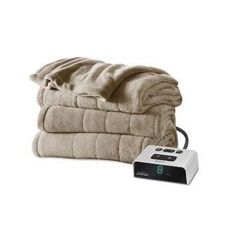 Sunbeam Channeled Microplush Heated Twin Blanket, Mushroom