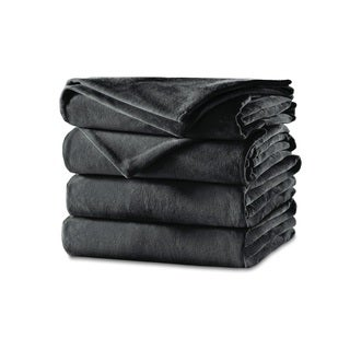 Sunbeam Velvet Plush Heated Queen Blanket, Slate