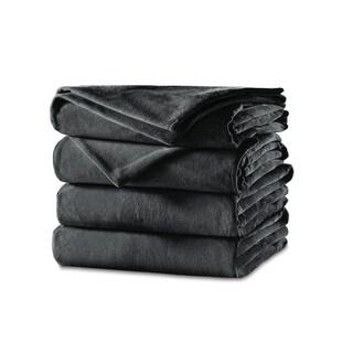 Sunbeam Velvet Plush Heated Twin Blanket, Slate