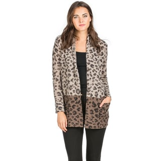 Premise Women's Brown Cashmere 2-Tone Animal-print Cardigan