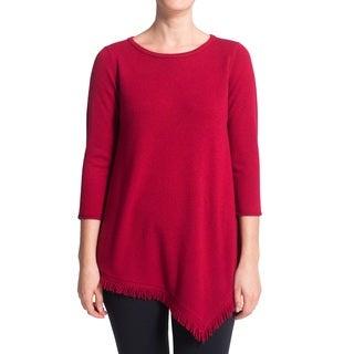 Premise Cashmere Women's Fringe Hem Pullon Cashmere Sweater