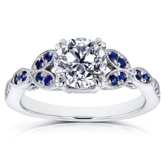 Annello by Kobelli 14k White Gold Certified Sapphire and 1ct TDW Diamond Eco-Friendly Lab Grown Diamond Floral