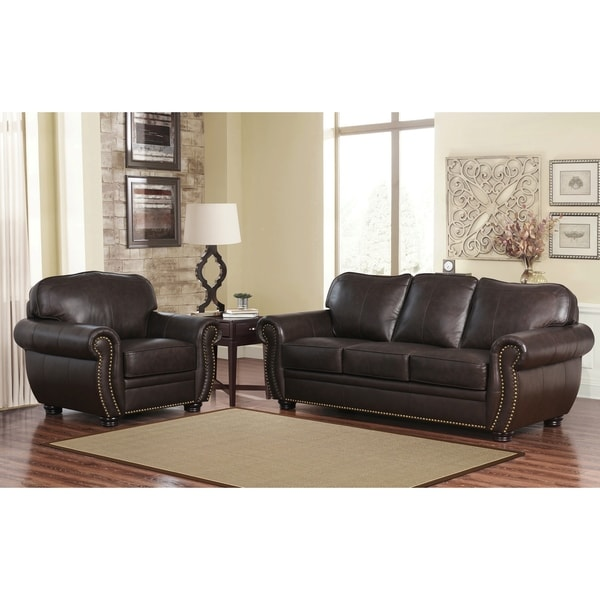shop abbyson richfield top grain leather 2 piece living room set on sale free shipping today. Black Bedroom Furniture Sets. Home Design Ideas