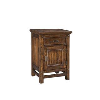 Wolf Creek Rustic Vintage Acacia 1-Door 1-Drawer Nightstand