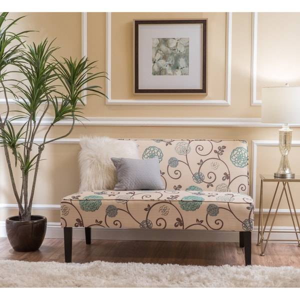 Shop Dejon Modern Floral Upholstered Fabric Love Seat By