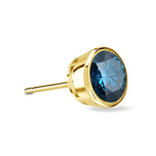 Auriya 14k Gold 1/3ct TDW Bezel Push-Back Round Cut Blue Diamond Single Stud Earring (Blue, SI2-SI3)