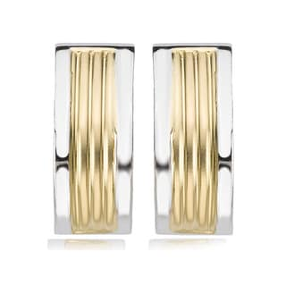 Avanti 14K Two Tone J Hoop Omega Clip Earrings