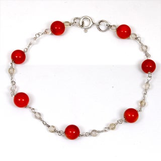 Orchid Jewelry 925 Sterling Silver 10.20 Carat Carnelian and Crystal Quartz Bracelet