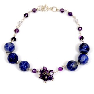 Orchid Jewelry 925 Sterling Silver 25.40 Carat Blue Agate, Amethyst & Crystal Quartz Beaded Bracelet