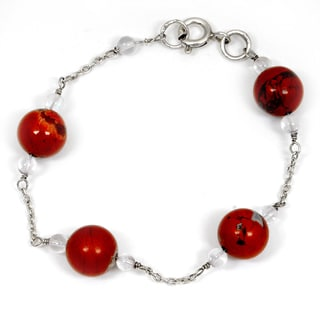 Orchid Jewelry 925 Sterling Silver 18.90 Carat Red Jasper and Crystal Quartz Bracelet