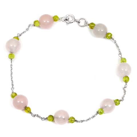 Rose Quartz, Peridot Sterling Silver Ball Beaded Bracelet by Orchid Jewelry