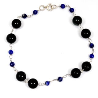 Orchid Jewelry 925 Sterling Silver 35.50 Carat Black Onyx and Lapis Bracelet