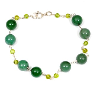 Orchid Jewelry 925 Sterling Silver 33.40 Carat Green Aventurine and Peridot Bracelet