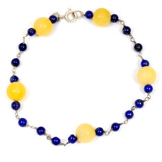 Orchid Jewelry 925 Sterling Silver 27.00 Carat Honey Jade and Lapis Bracelet