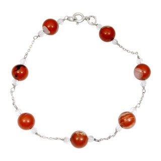 Orchid Jewelry 925 Sterling Silver 29.40 Carat Red Jasper and Crystal Quartz Bracelet