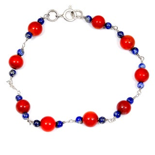 Orchid Jewelry 925 Sterling Silver 19.30 Carat Carnelian and Lapis Bracelet
