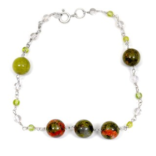 Orchid Jewelry 925 Sterling Silver 26.40 Carat Unakite Jasper, Quartz and Peridot Bracelet