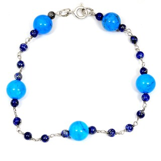 Orchid Jewelry 925 Sterling Silver 22.00 Carat Turquoise and Lapis Bracelet