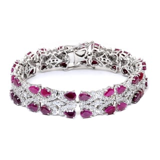 Orchid Jewelry 925 Sterling Silver 33.20 Carat Ruby and White Topaz Bracelet