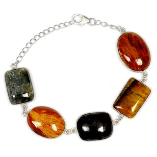 Orchid Jewelry 925 Sterling Silver 55.20 Carat Tiger Eye, Jasper and Sugilite Gemstones Bracelet