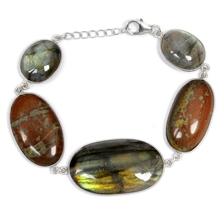 Orchid Jewelry 925 Sterling Silver 91.50 Carat Jasper and Labradorite Bracelet