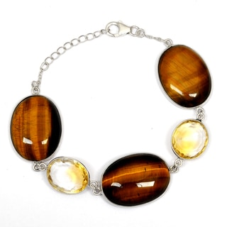 Orchid Jewelry 925 Sterling Silver 83.60 Carat Tiger Eye and Citrine Bracelet