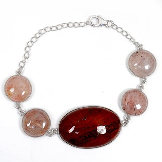 Orchid Jewelry 925 Sterling Silver 85.10 Carat Red Jasper and Strawberry Quartz Bracelet