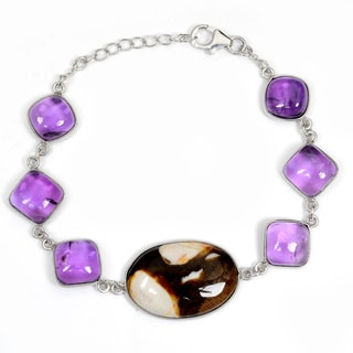 Orchid Jewelry 925 Sterling Silver 48.40 Carat Jasper and Amethyst Bracelet