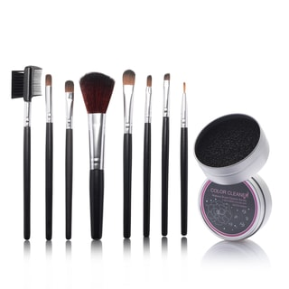 Zodaca 8-piece Set Black Makeup Brushes with Pouch Bag/ Makeup Brush Color Removal Dry Sponge