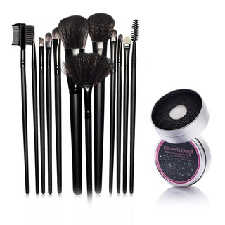 Zodaca 12-piece Set Black Makeup Brushes with Pouch Bag/ Makeup Brush Color Removal Dry/ Wet Duo Sponge