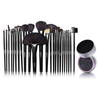 Zodaca 24-piece Set Black Makeup Brushes with Pouch Bag/ Makeup Brush Color Removal Dry Sponge