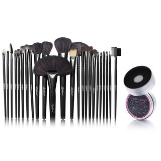 Zodaca 24-piece Set Black Makeup Brushes with Pouch Bag/ Makeup Brush Color Removal Dry/ Wet Duo Sponge
