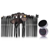 Zodaca 32-piece Set Black Makeup Brushes with Pouch Bag/ Makeup Brush Color Removal Dry Sponge