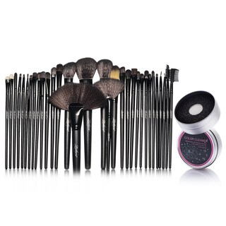 Zodaca 32-piece Set Black Makeup Brushes with Pouch Bag/ Makeup Brush Color Removal Dry/ Wet Duo Sponge