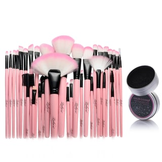 Zodaca 32-piece Set PInk Makeup Brushes with Pouch Bag/ Makeup Brush Color Removal Dry Sponge