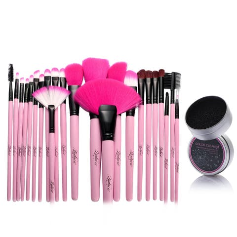 Zodaca 24-piece Set Pink Makeup Brushes with Pouch Bag/ Makeup Brush Color Removal Dry Sponge
