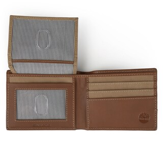 Timberland Men's Genuine Leather Canvas Bifold Passcase Wallet