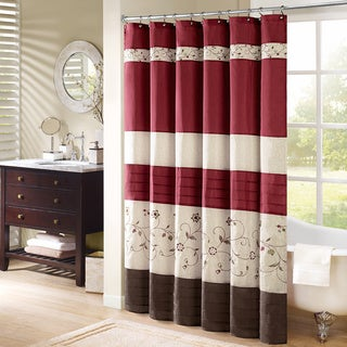 Madison Park Belle Embroidered Shower Curtain in Red (As Is Item)