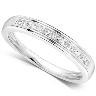 JewelMore 14k White Gold 1/4ct TDW Princess-cut Diamond Wedding Ring (H-I, I1-I2)