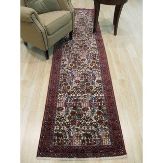 Hand-knotted Wool Ivory Traditional Oriental Tafresh Rug (2'7 x 9'9)