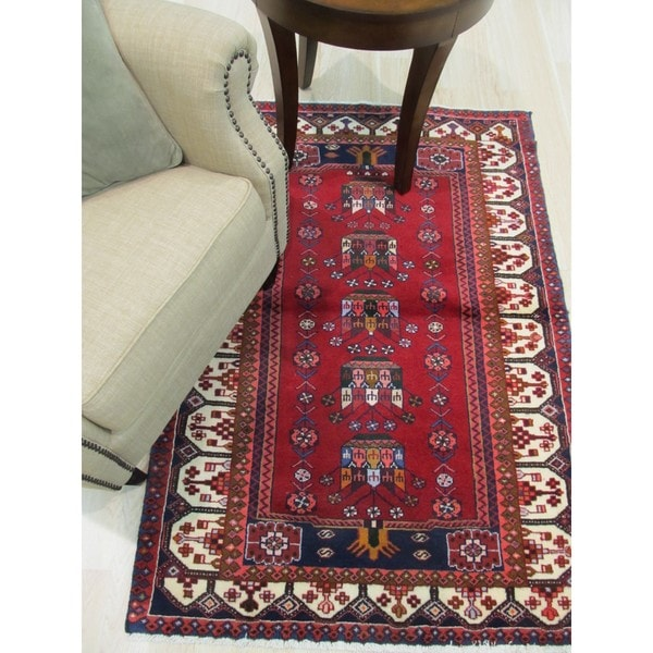 Hand Tufted Traditional Oriental Red Wool Rug With Non: Shop Hand-knotted Wool Red Traditional Oriental Hamadan