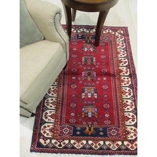 Hand-knotted Wool Red Traditional Oriental Hamadan Rug (3'5 x 5'1)